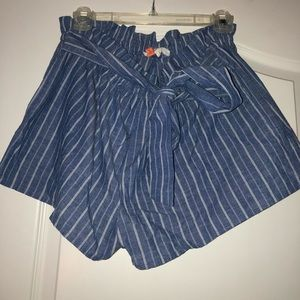 High Waisted Striped Tie Shorts